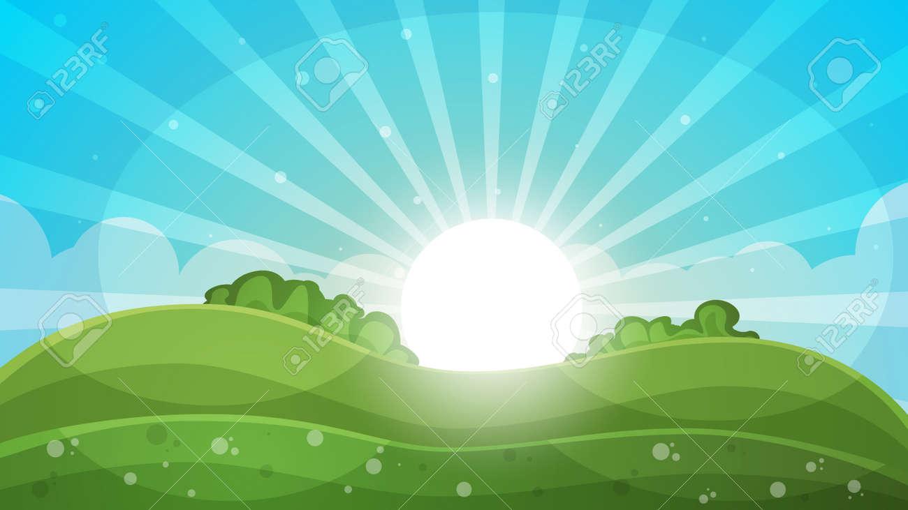 hight resolution of cartoon landscape abstract illustration sun ray glare hill cloud vector eps
