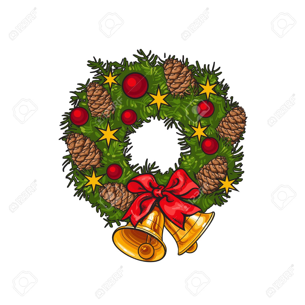 Green Christmas Wreath With Decorations Cartoon Vector Illustration Royalty Free Cliparts Vectors And Stock Illustration Image 63578909