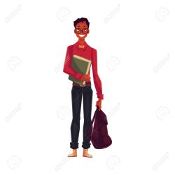 College University Student Geek In Square Glasses Holding Backpack Royalty Free Cliparts Vectors And Stock Illustration Image 67895418
