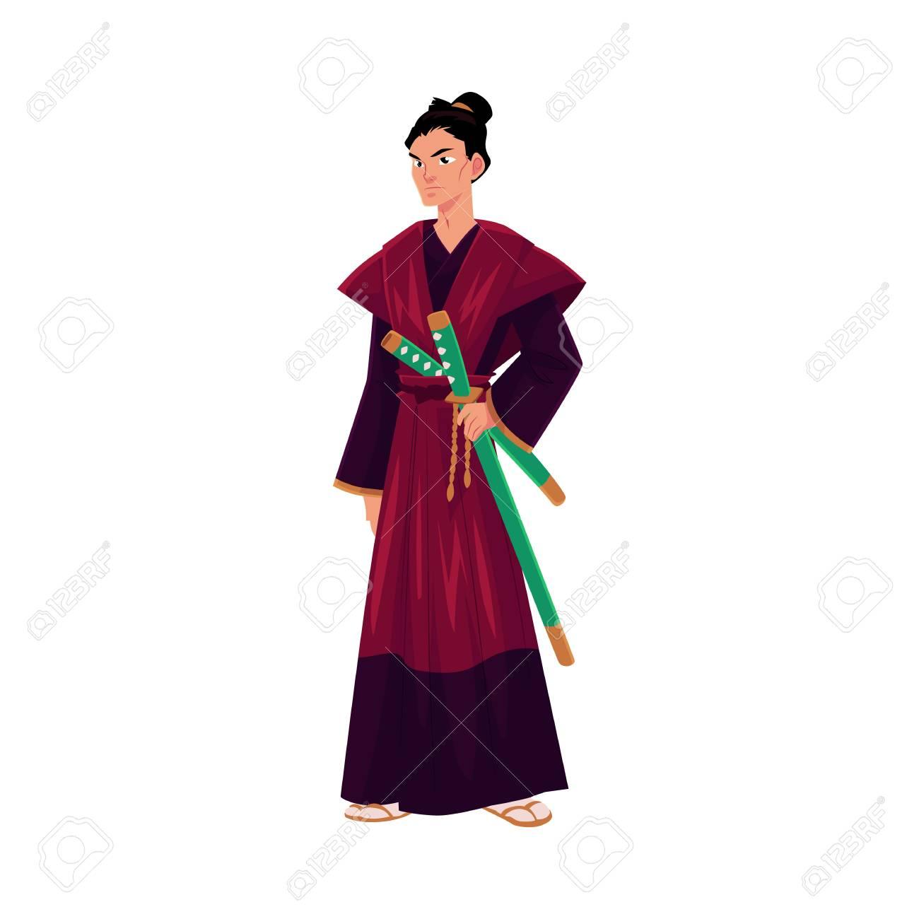 samourai japonais guerrier en kimono traditionnel avec des epees katana symbole du japon illustration de vecteur de dessin anime isole sur fond