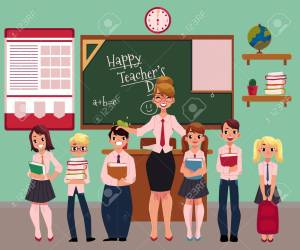 Full Length Portrait Of Female Teacher Standing With Students Stock Photo Picture And Royalty Free Image Image 82041906