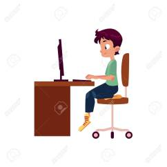 Teen Office Chair Best Za Vector Flat Cartoon Boy Kid Sitting On At Wooden Desk Looking In Pc Monitor Typing Somthing Keyboard