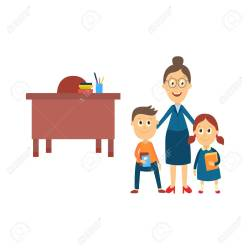 Female Teacher Standing In Classroom With Two Students Flat Royalty Free Cliparts Vectors And Stock Illustration Image 87535427
