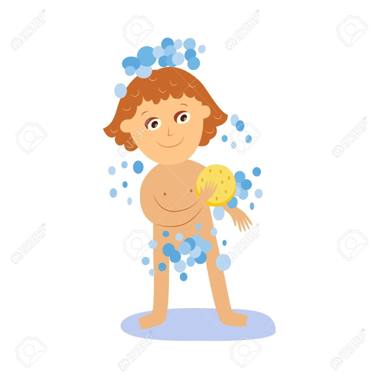 fille de vecteur de lavage de savon se mousser avec une eponge jaune souriant dessin anime caractere feminin illustration isolee sur fond blanc