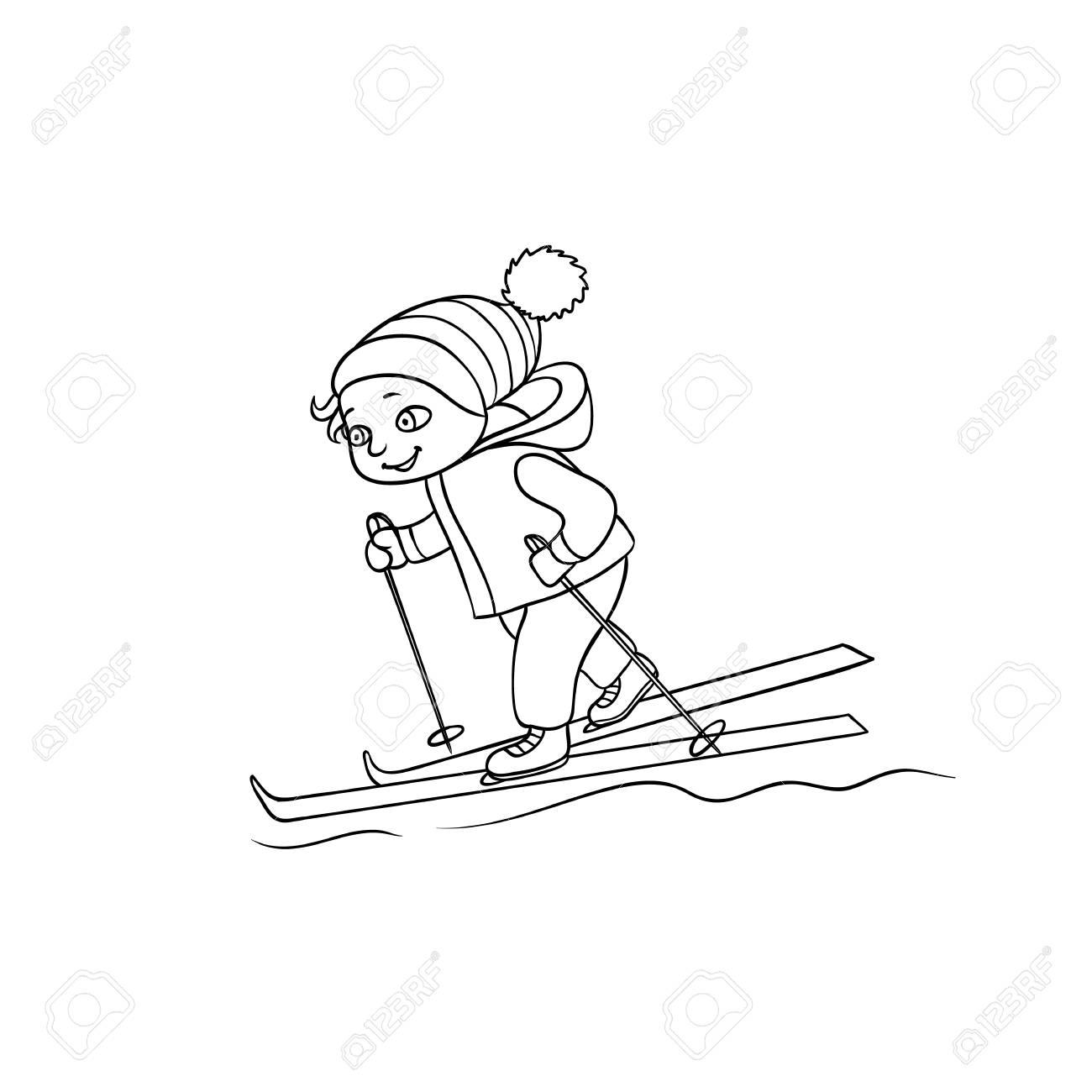 heureux petit garcon ski activite de sport d hiver illustration de vecteur de dessin anime plat noir et blanc isole sur fond blanc dessin de petit