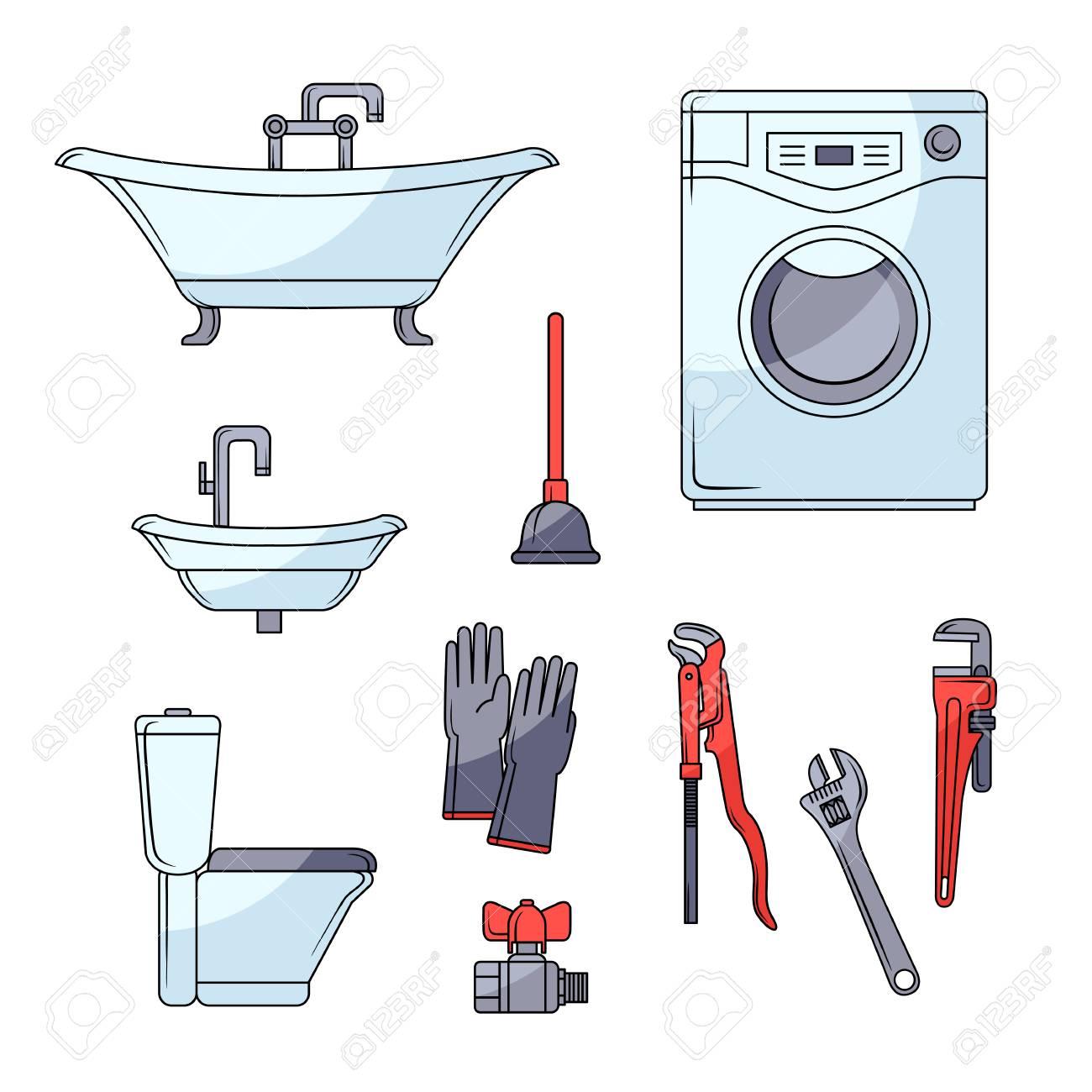Plumbing Set Bathtub Toilet Bowl Sink Washing Machine Plumber Royalty Free Cliparts Vectors And Stock Illustration Image 92179334