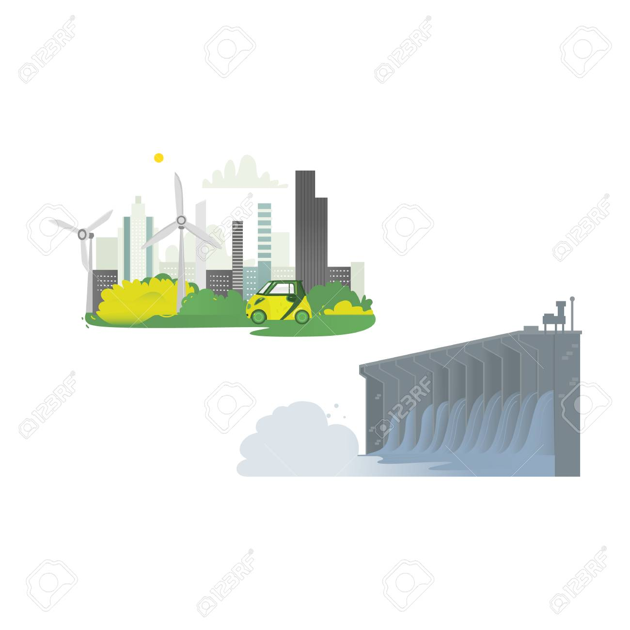 hight resolution of vector vector flat cartoon hydroelectric dam power station green city concept set water power plant and factory green ecological renewable electricity