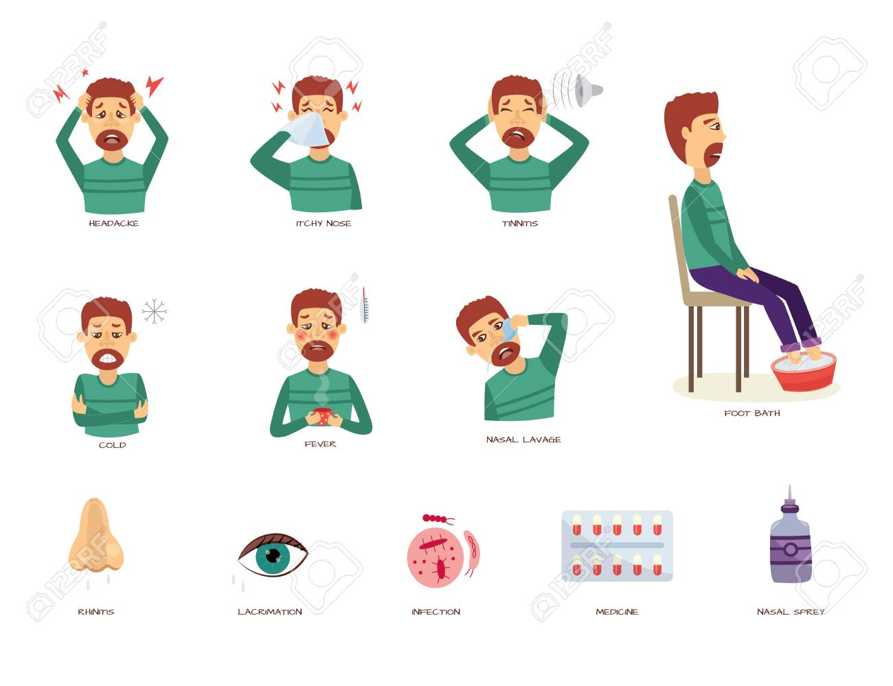 Vector Rhinitis Symptoms Set. Man Suffering From Runny And Itchy ...