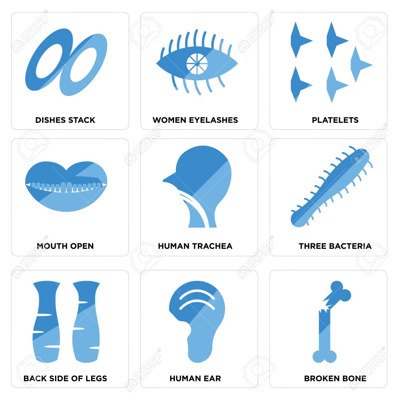 hight resolution of set of 9 simple editable icons such as broken bone human ear back side