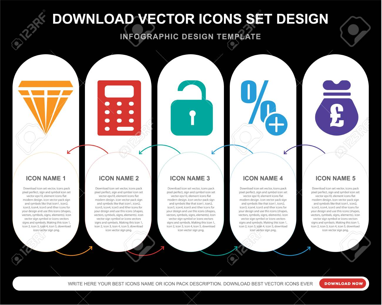 5 vector icons such