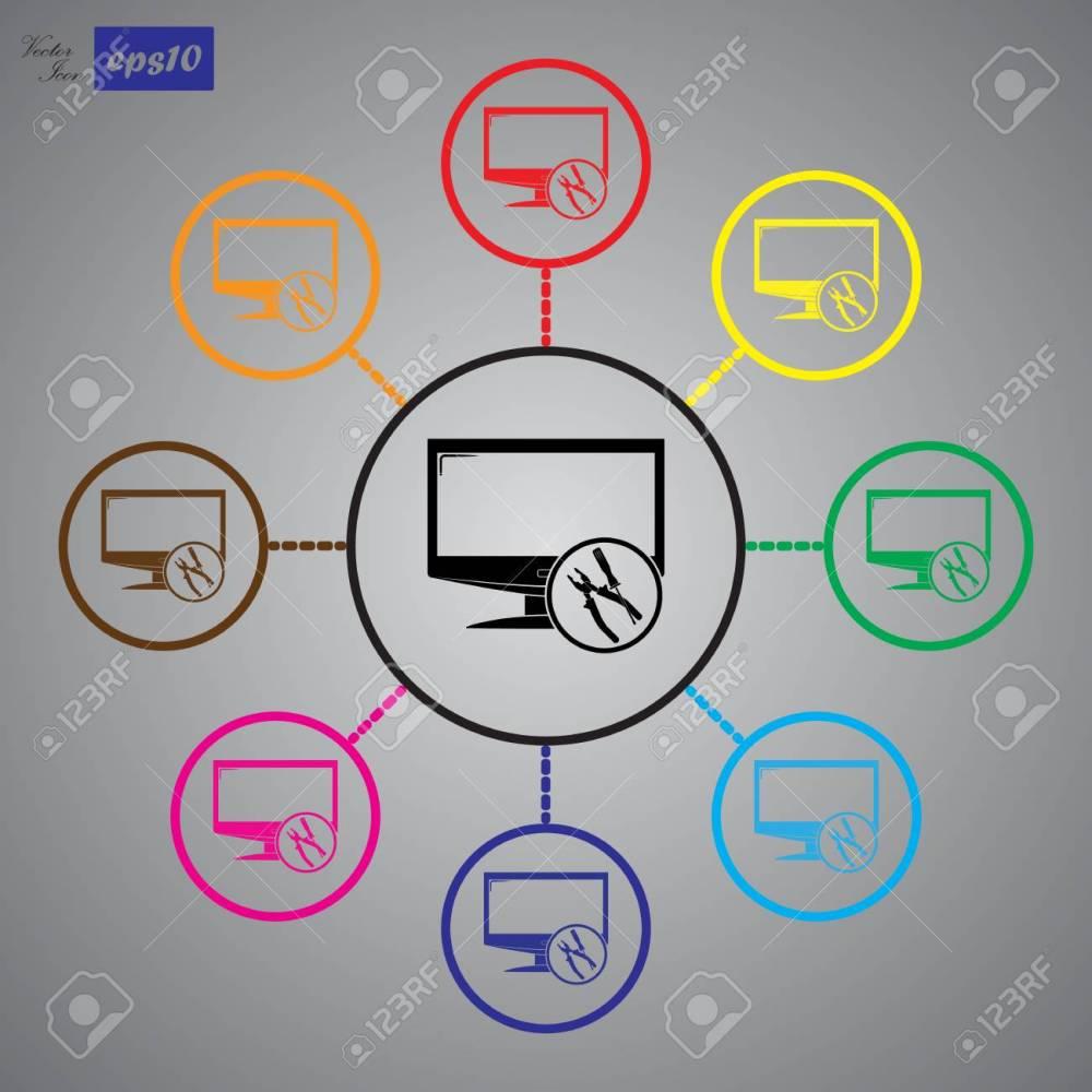 medium resolution of tv repair icon stock vector 55182642