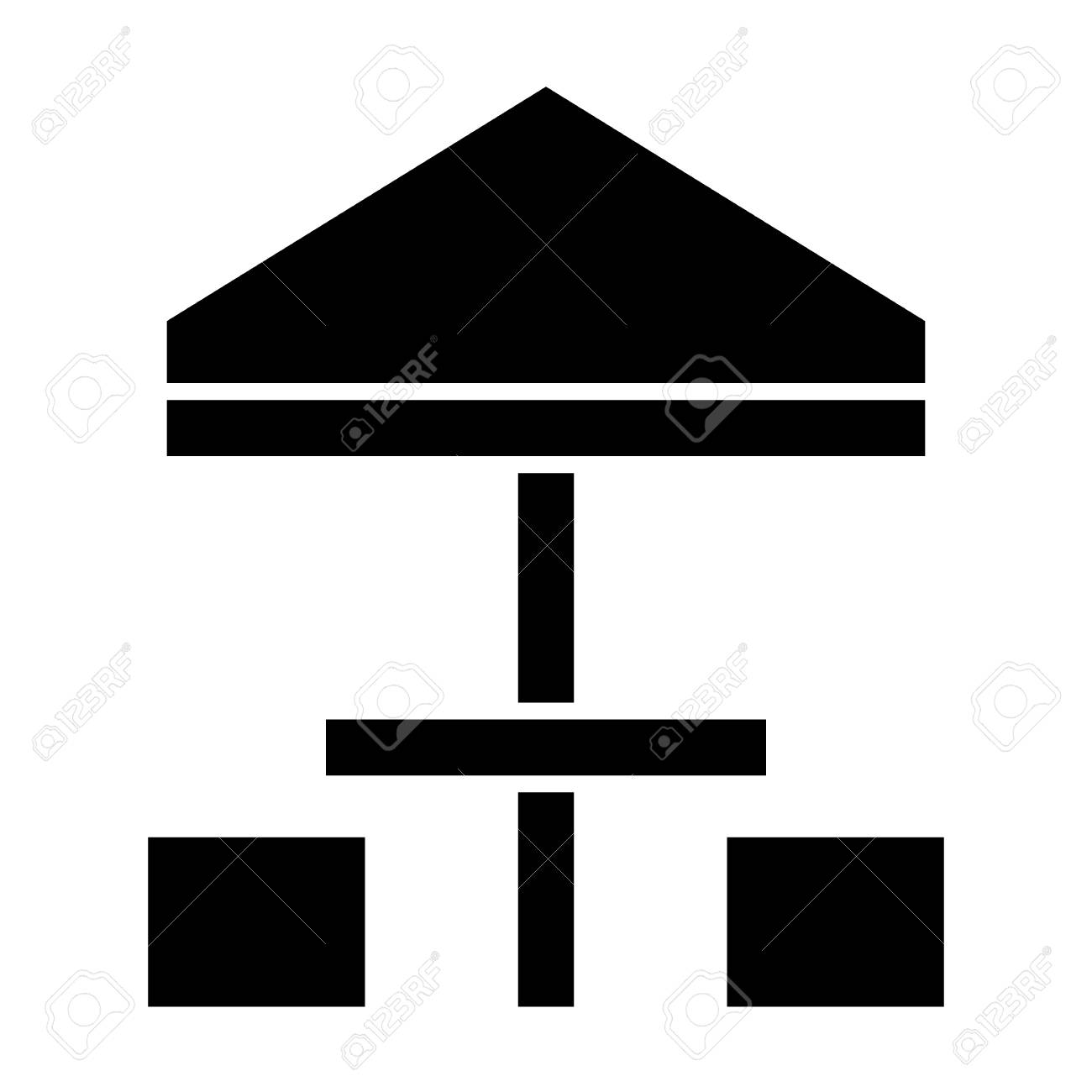 umbrella tent and two chairs solid icon patio furniture vector