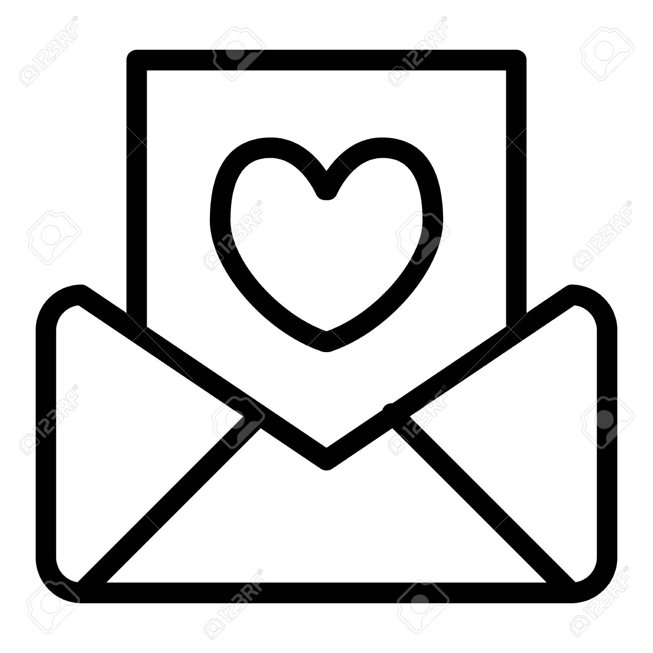 wedding invitation line icon letter vector illustration isolated