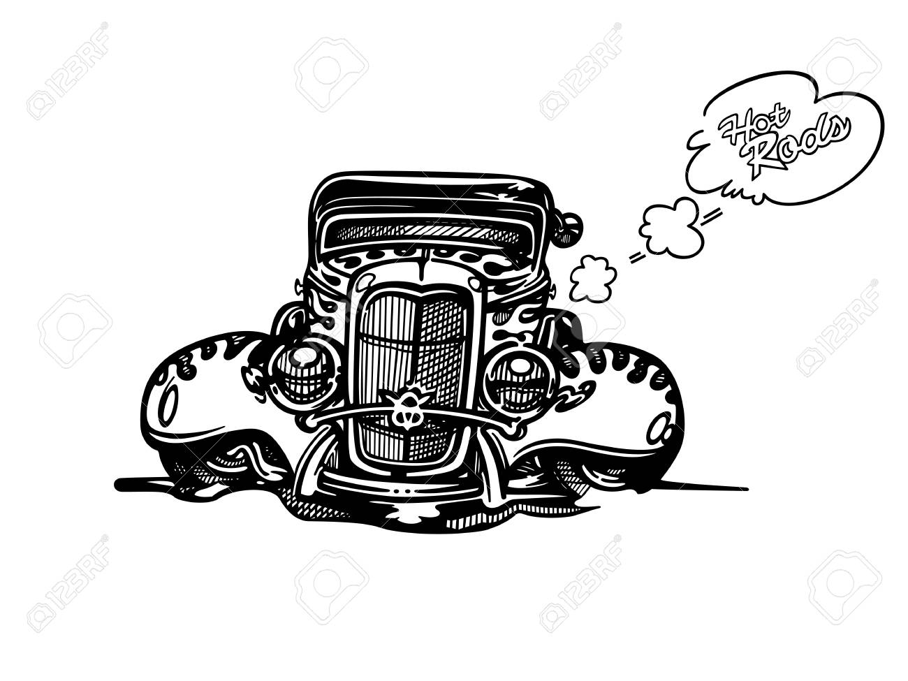 hight resolution of vector vector retro hotrod car clipart cartoon illustration classic vintage car