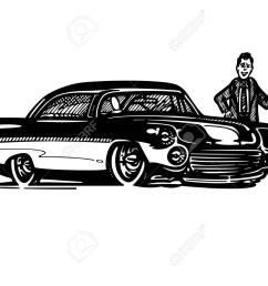 vector vector retro hotrod car clipart cartoon illustration classic vintage car [ 1300 x 975 Pixel ]