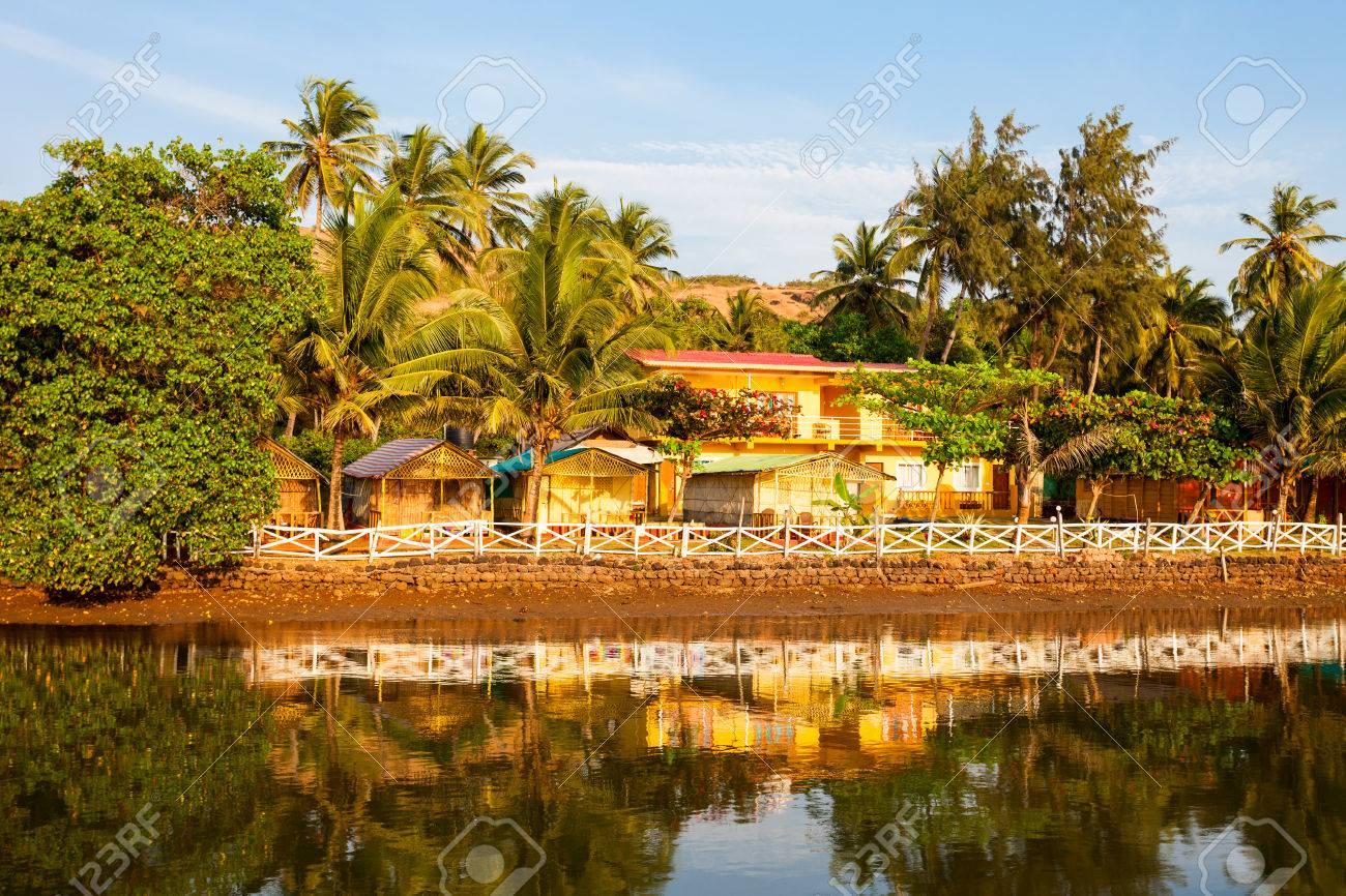 Resort Huts On Mandrem Beach In North Goa India
