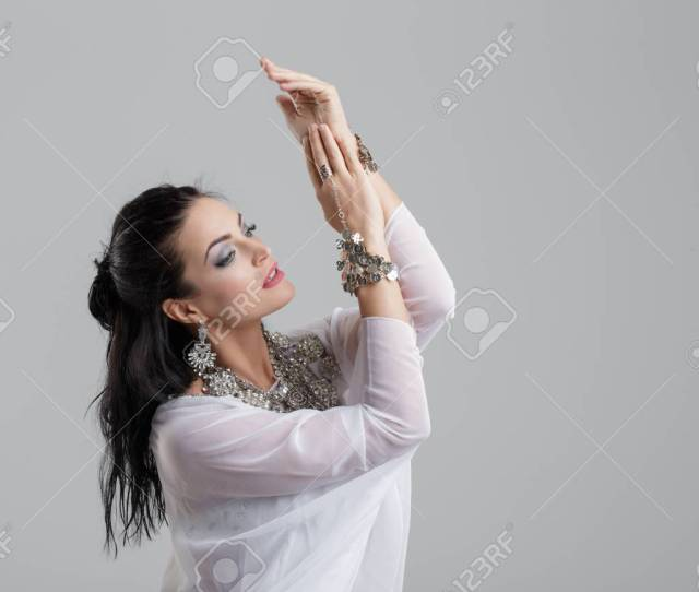 Passionate Sensual Arabic Belly Dancer Performance On Grey Background Stock Photo 91424979