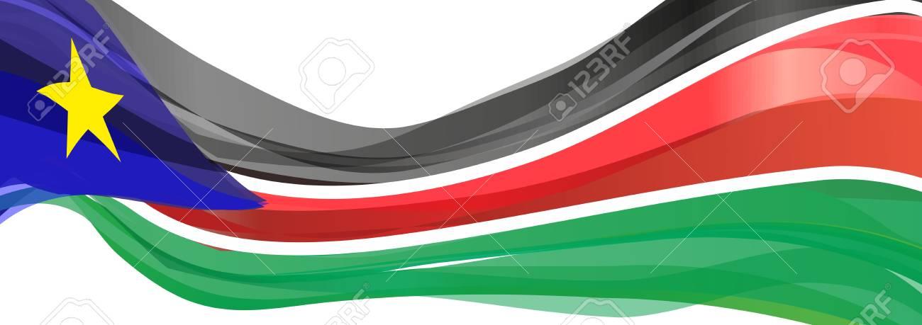 drapeau du sud soudan noir rouge vert avec un triangle bleu et drapeau jaune de l etoile du sud du soudan