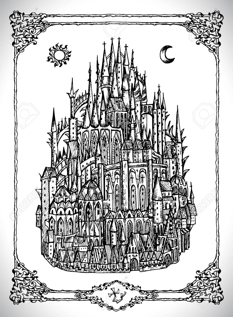 Castle Line Drawing : castle, drawing, Mediaval, Castle, Witth, Towers., Vector, Mystic.., Royalty, Cliparts,, Vectors,, Stock, Illustration., Image, 129309018.