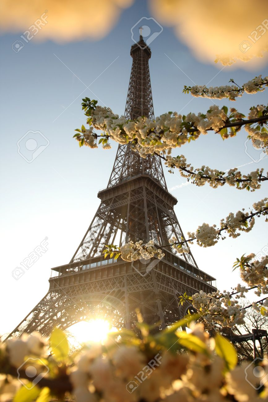 Spring Morning With Eiffel Tower Paris France