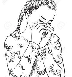 line drawing girl covering face wiring diagrams u2022young cute girl in sleepwear is crying covering [ 989 x 1300 Pixel ]