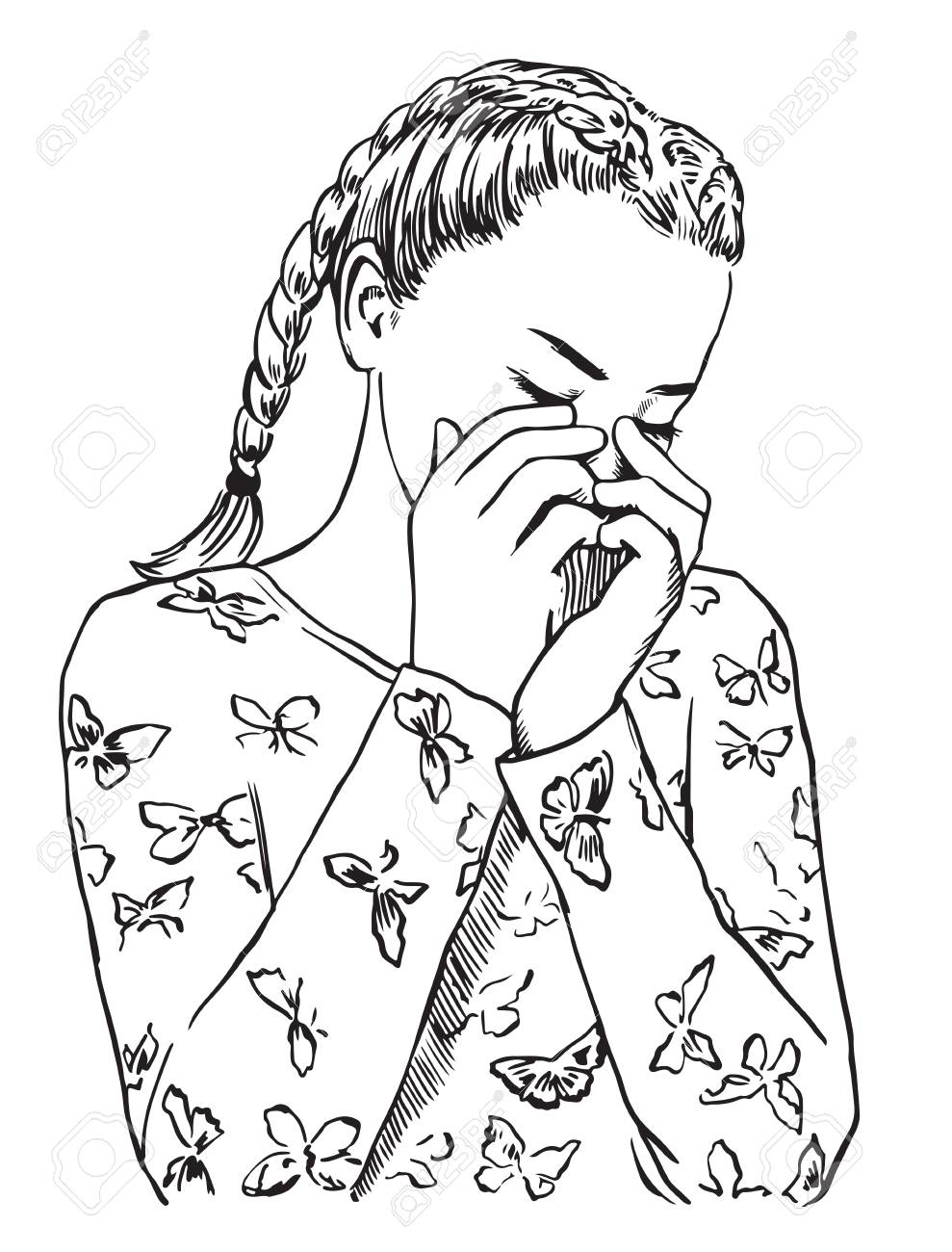 medium resolution of line drawing girl covering face wiring diagrams u2022young cute girl in sleepwear is crying covering