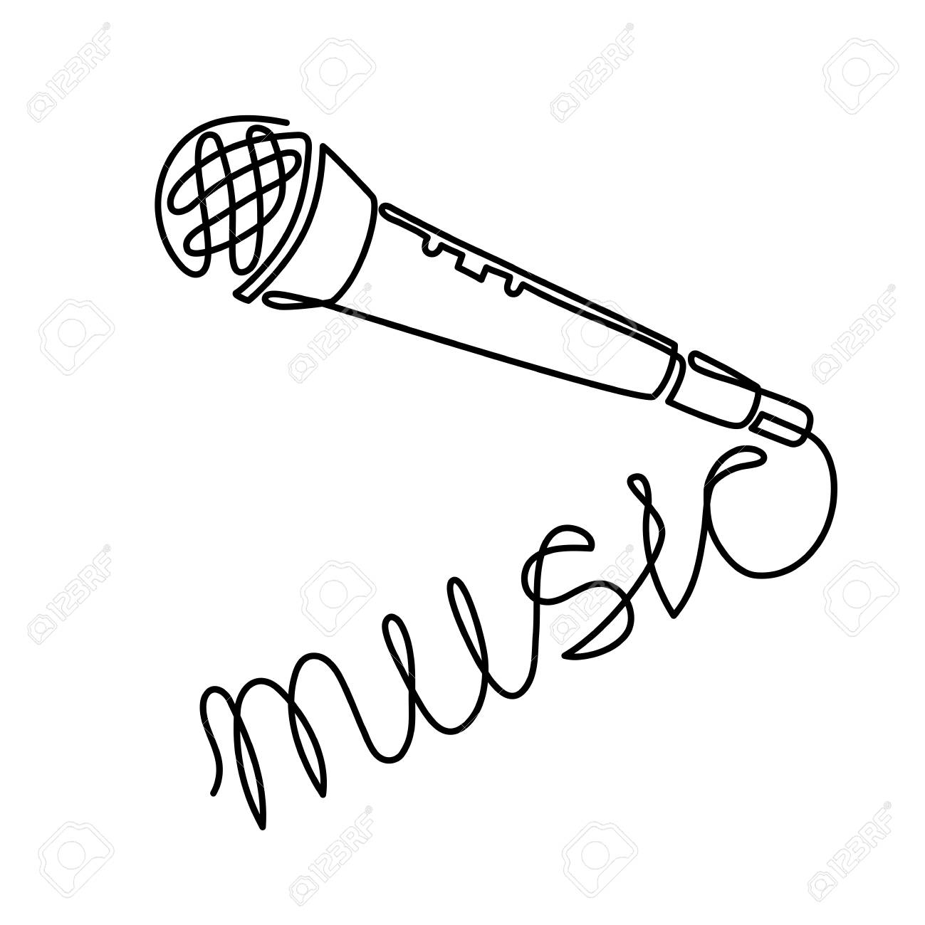 hight resolution of continuous line drawing of vector wired microphone icon thin line for web and mobile modern
