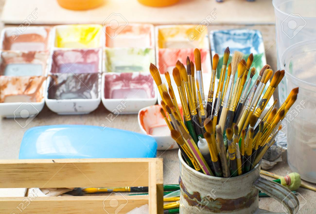 watercolor with brushes set