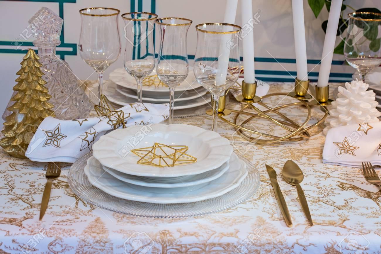 Tischdeko Weihnachten Weiss Gold Mon Decor Stimmungsbild