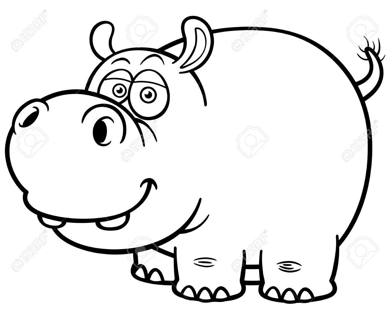 hight resolution of illustration of cartoon hippopotamus coloring book stock vector 28869786
