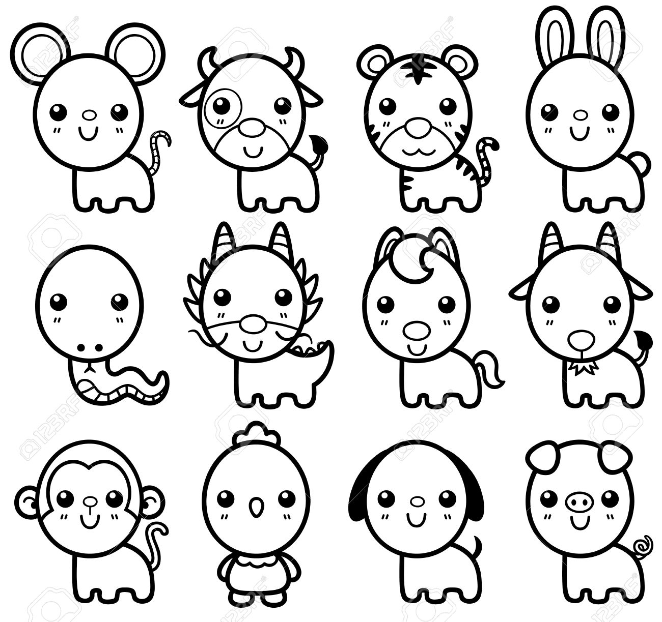 Dibujos Animados Animales Para Dibujar Y Pintar