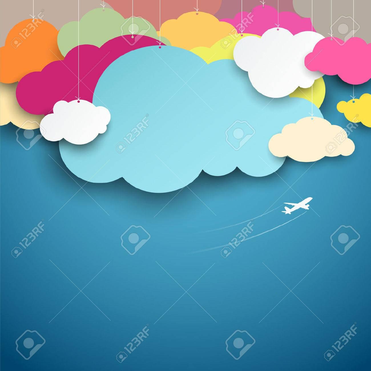 colorful paper cut clouds