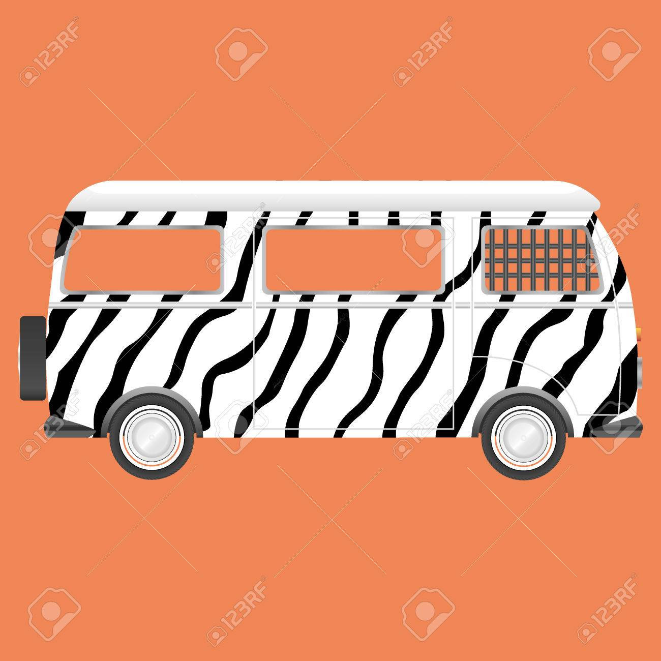 hight resolution of retro safari bus zebra style stock vector 44979856