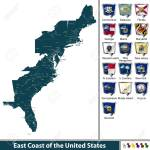 Set Of East Coast Of The United States With Flags And Map Royalty Free Cliparts Vectors And Stock Illustration Image 87937764