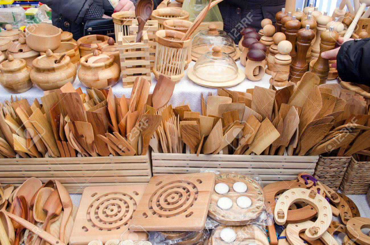 kitchen tools store stainless steel faucet handmade diy wooden utensil sold in bazaar fair stock photo 21744090