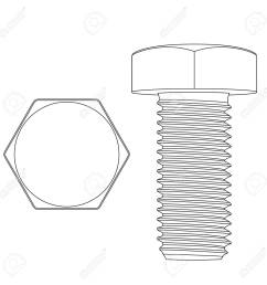 metal hex bolt white outline icon stock vector 97610727 [ 1300 x 1300 Pixel ]