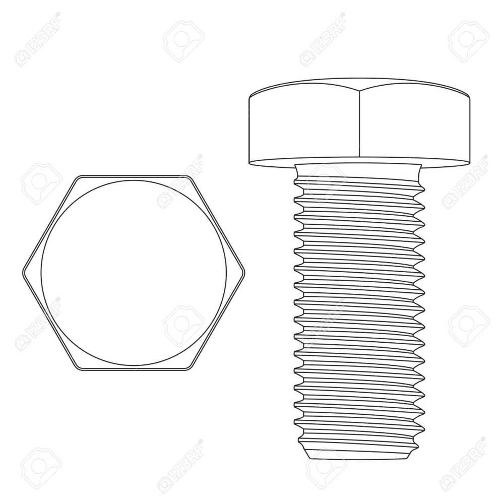 medium resolution of metal hex bolt white outline icon stock vector 97610727