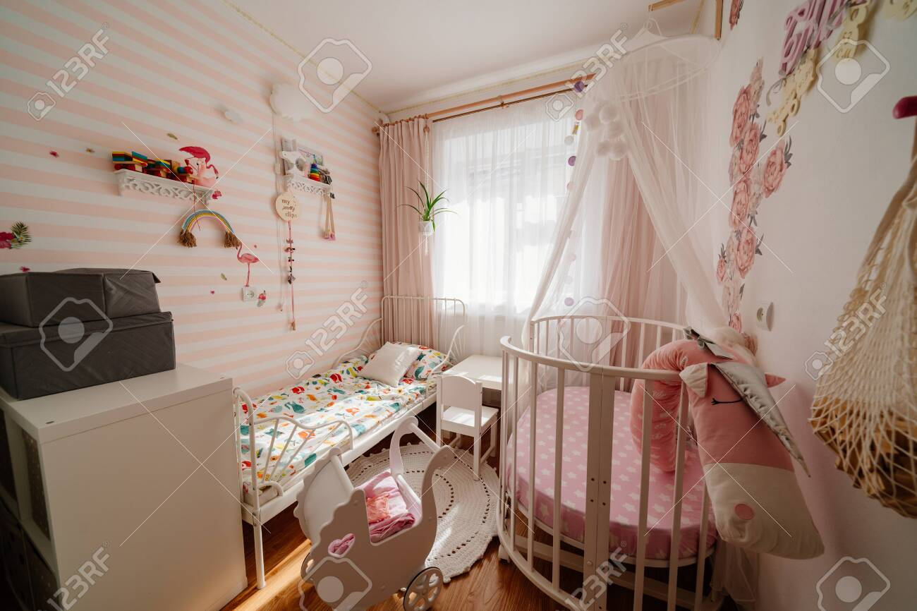 Beautiful Little Cosy White Kids Room With Two Beds For Girls Stock Photo Picture And Royalty Free Image Image 150262638