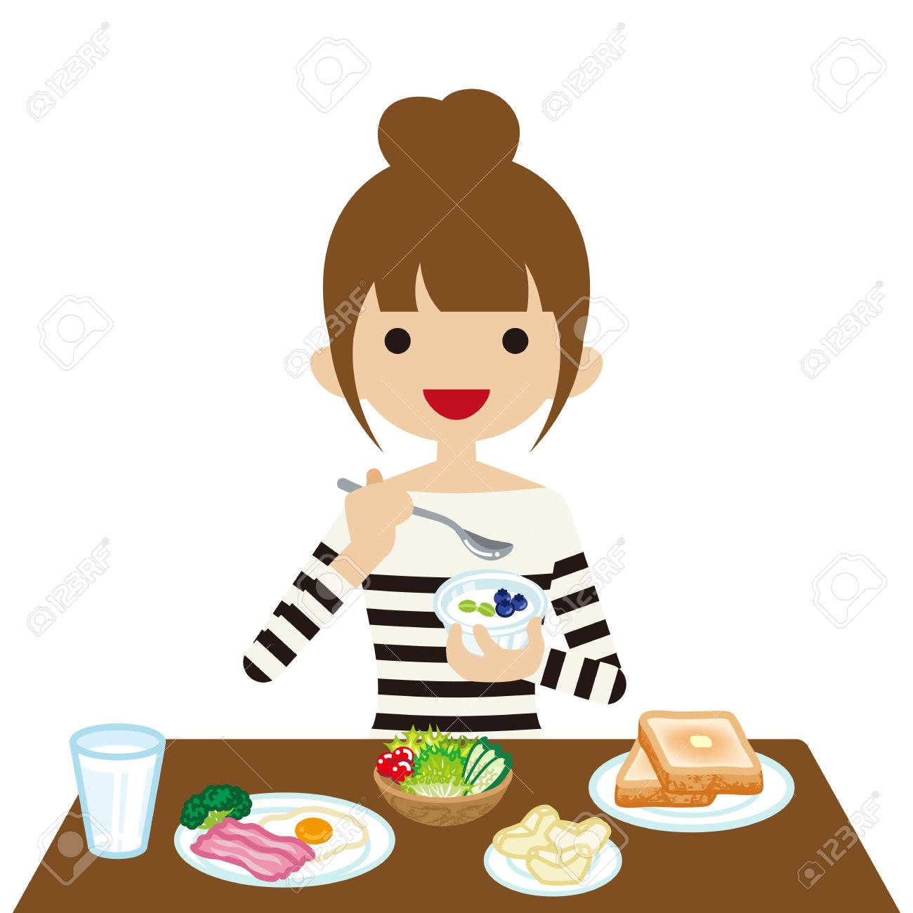 hight resolution of vector young woman eating breakfast