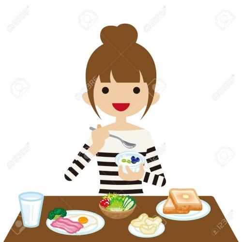 small resolution of vector young woman eating breakfast