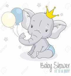 baby shower boy cute elephant with balloons stock vector 109986384 [ 1300 x 1300 Pixel ]