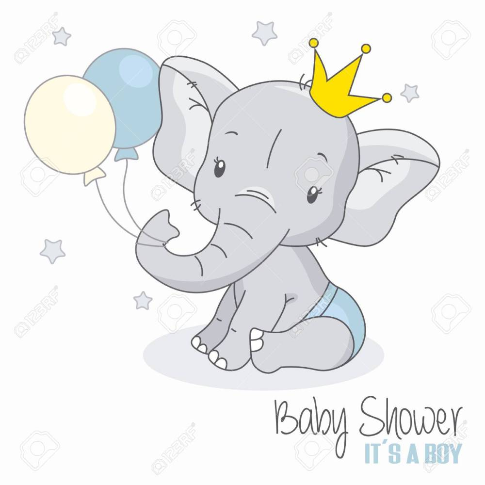 medium resolution of baby shower boy cute elephant with balloons stock vector 109986384