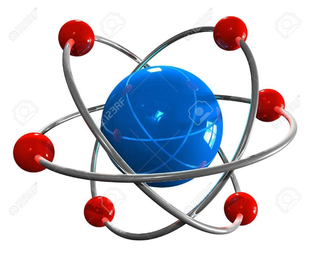 medium resolution of atom model stock photo 8445248