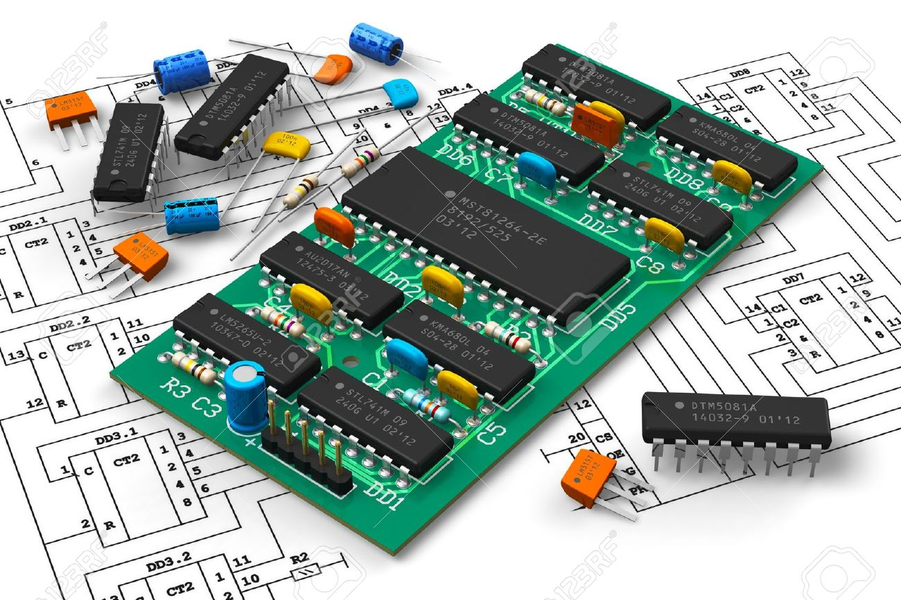 hight resolution of electronics industry concept digital circuit board with microchips over schematic diagram isolated on white background attn design of pcb and all components