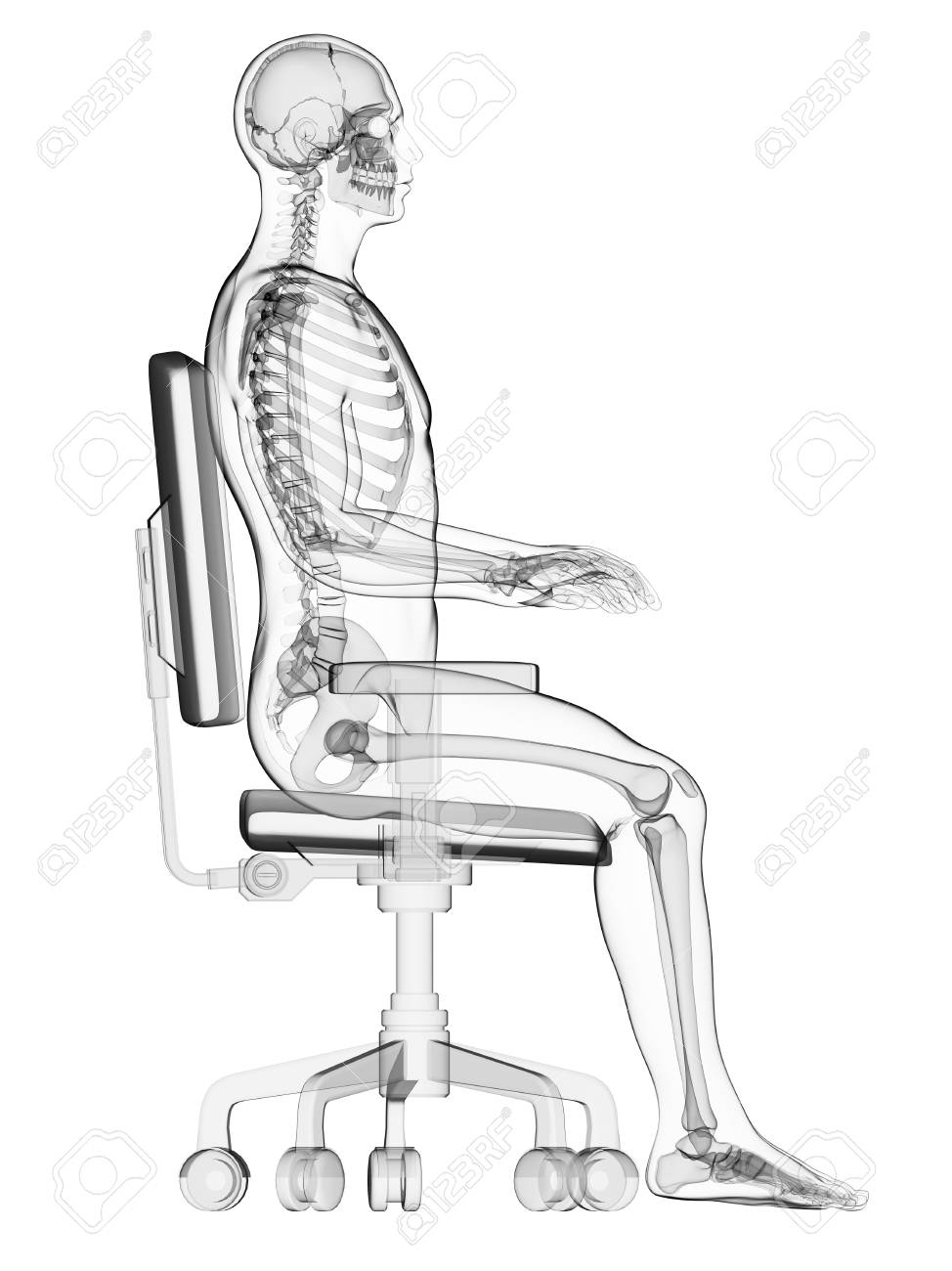 desk chair good posture swing south africa person sitting on an office with the correct computer artwork stock photo