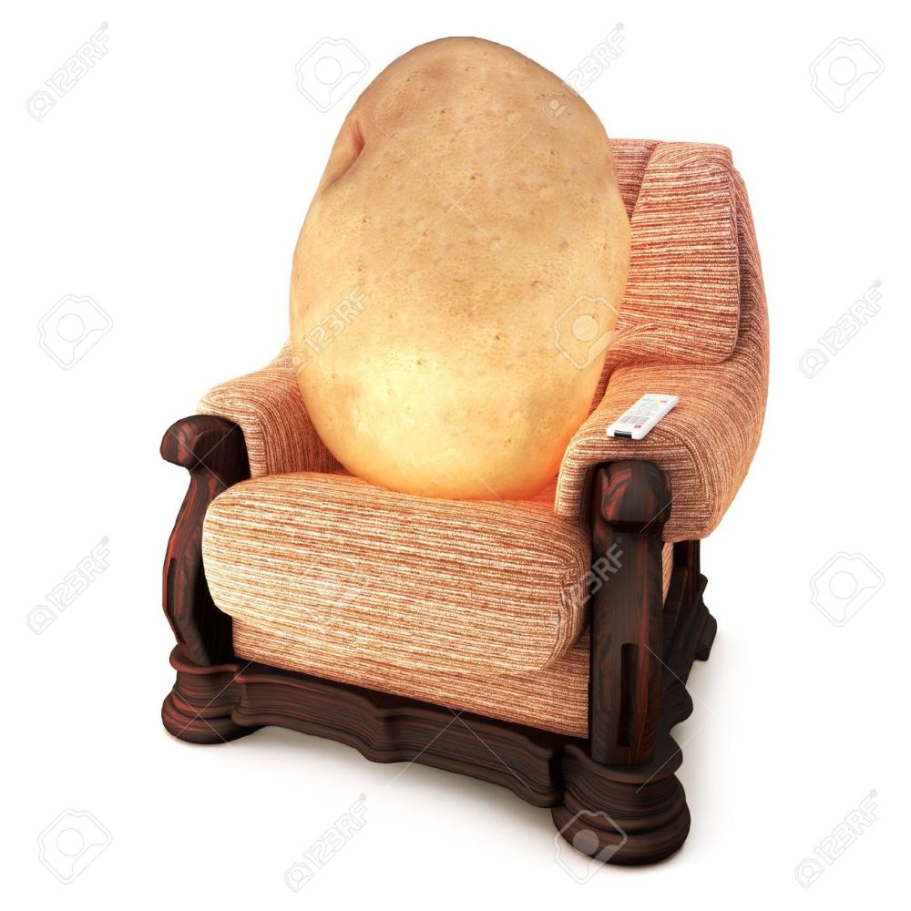 medium resolution of an idiom showing a couch potato on a white background royalty free