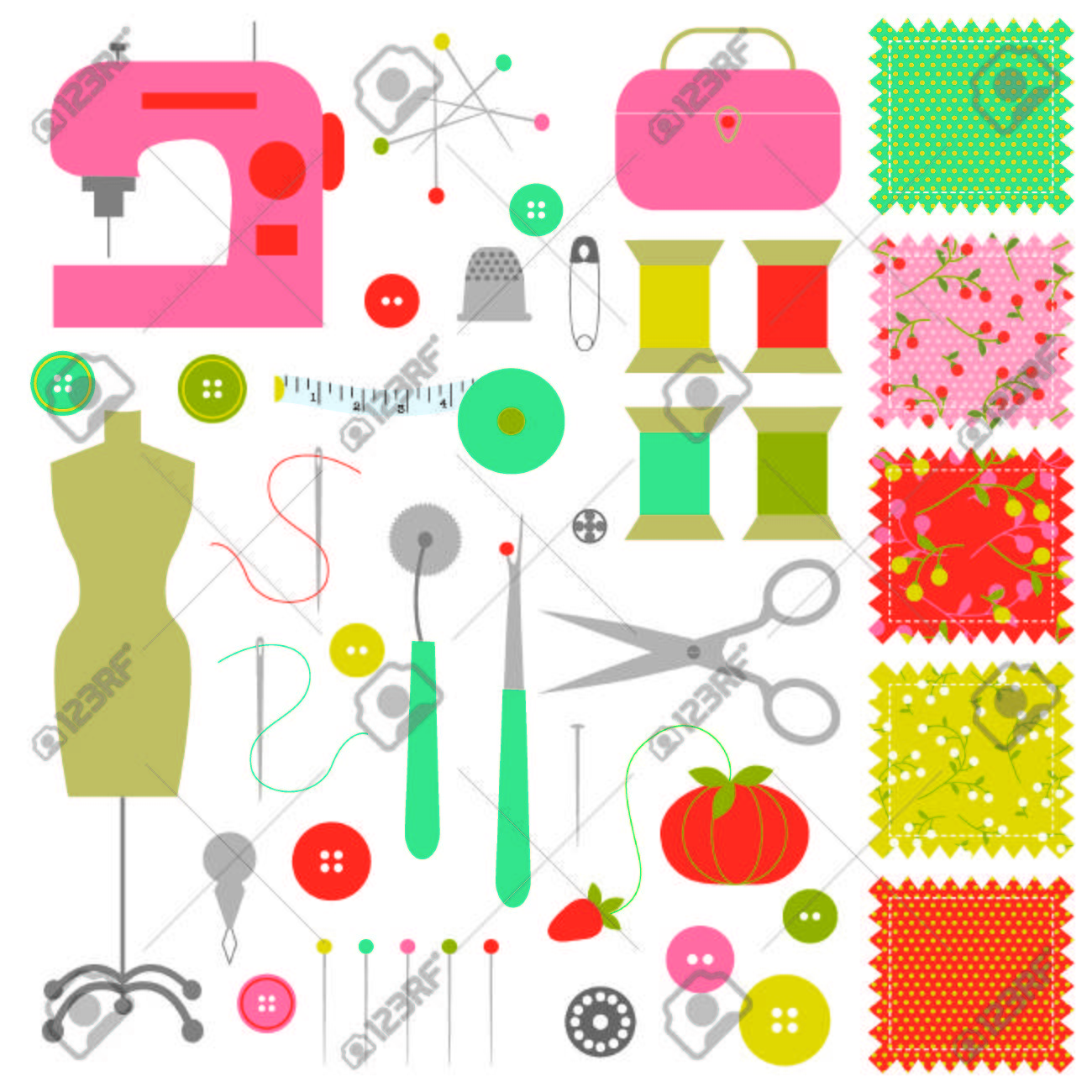 hight resolution of sewing clipart stock vector 35841476