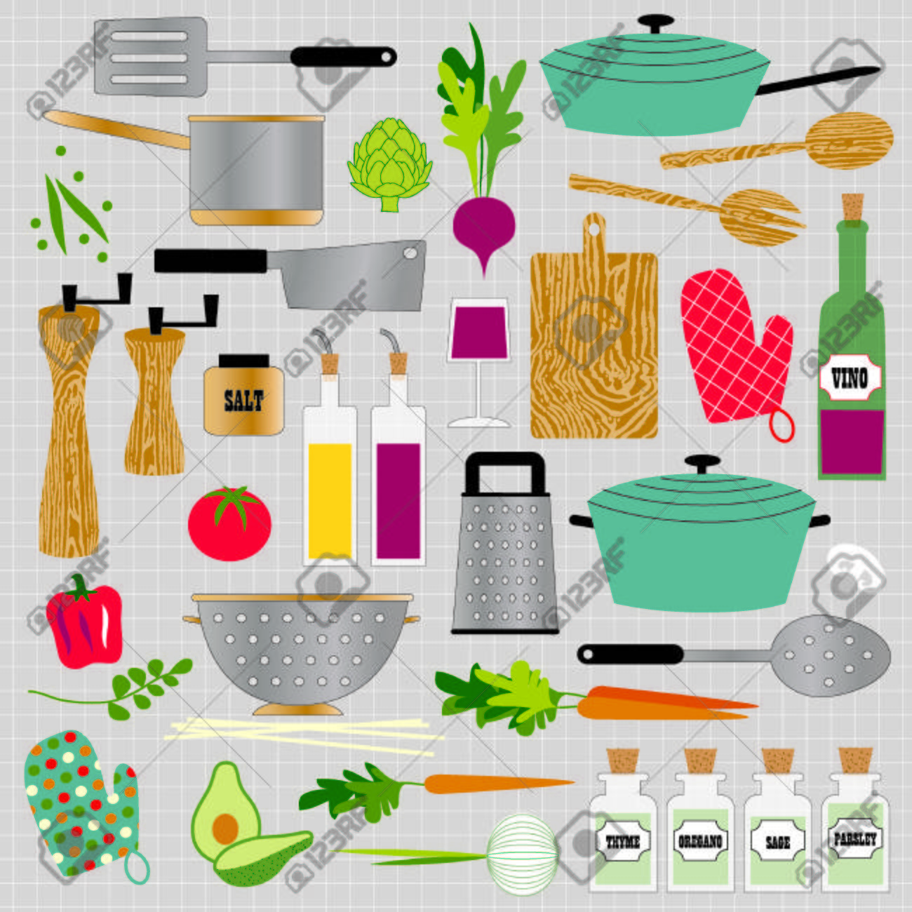 hight resolution of kitchen cooking clipart stock vector 35857761