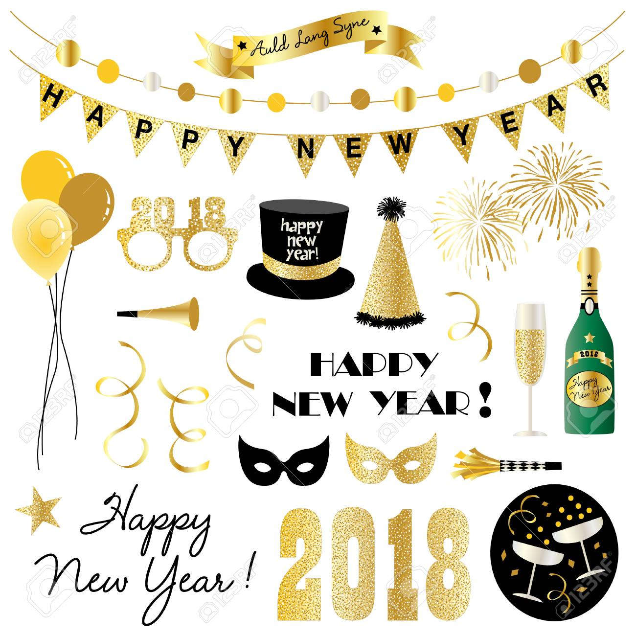 hight resolution of new years eve clipart stock vector 85349247
