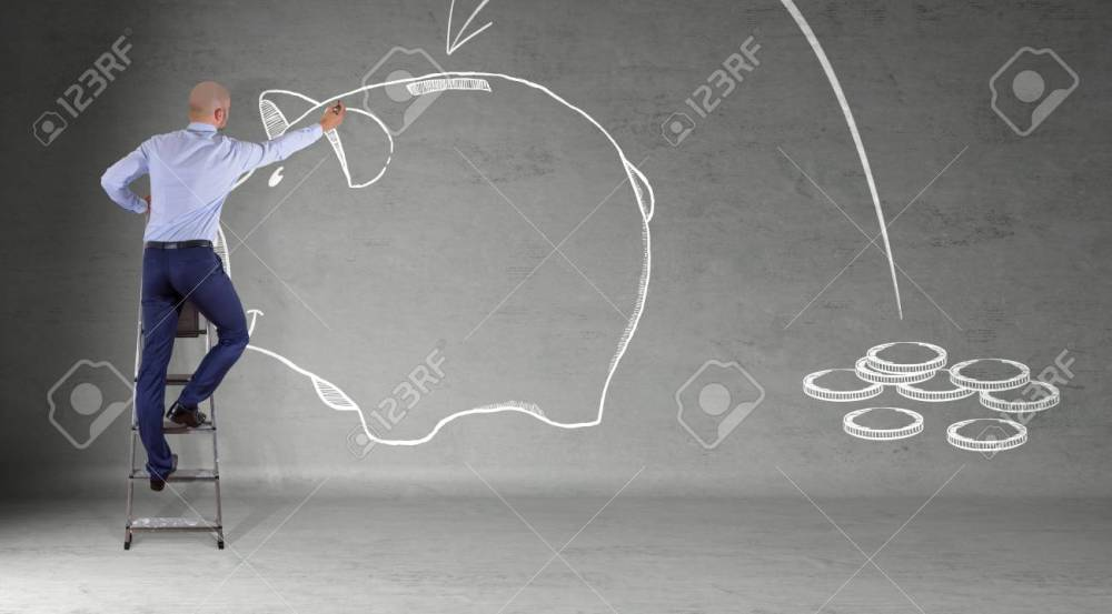 medium resolution of businessman in modern interior drawing a sketch piggy bank on a wall 3d rendering stock photo